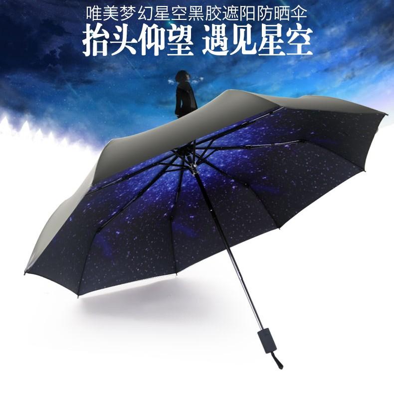 豪邁 社~ 韓國星空傘藍天白雲惡魔之眼櫻花雛菊口袋傘雨傘陽傘折疊傘抗UV 黑膠抗風抗雨防曬