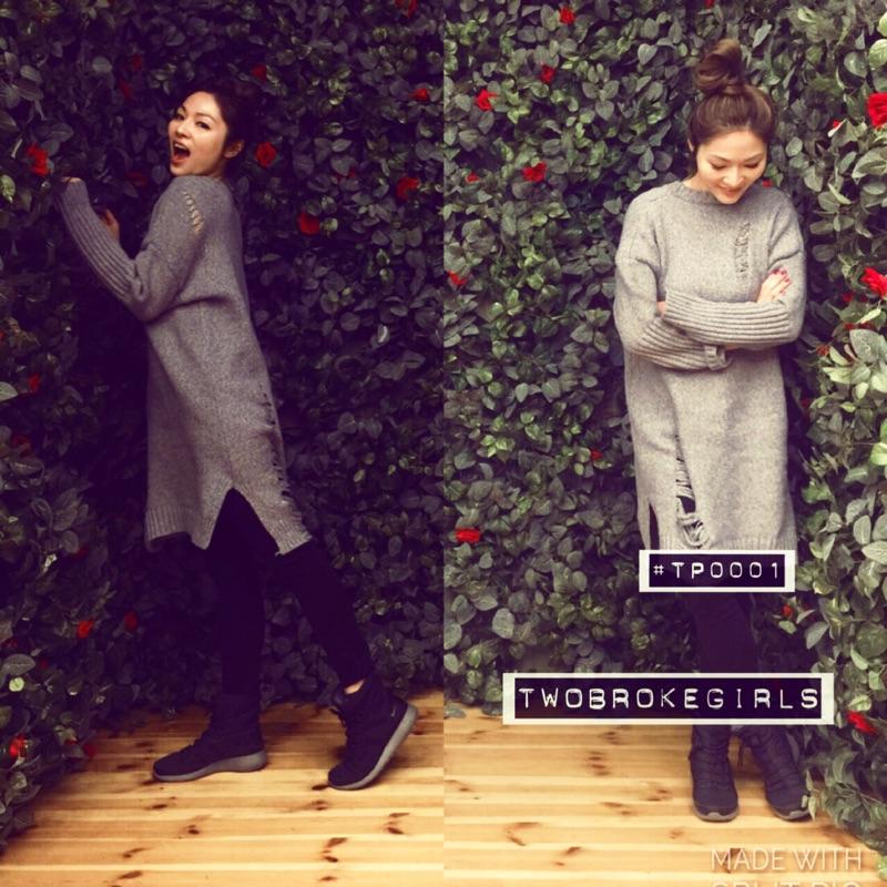 韓國 長版針織破壞流蘇摩破洞洞連身裙上衣洋裝毛衣保暖不扎灰