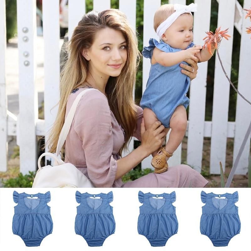 後背鏤空愛心牛仔連體衣寶寶包屁衣丹寧牛仔嬰兒服飾夏裝嬰兒女孩連身褲連身衣緊身衣連衣裙