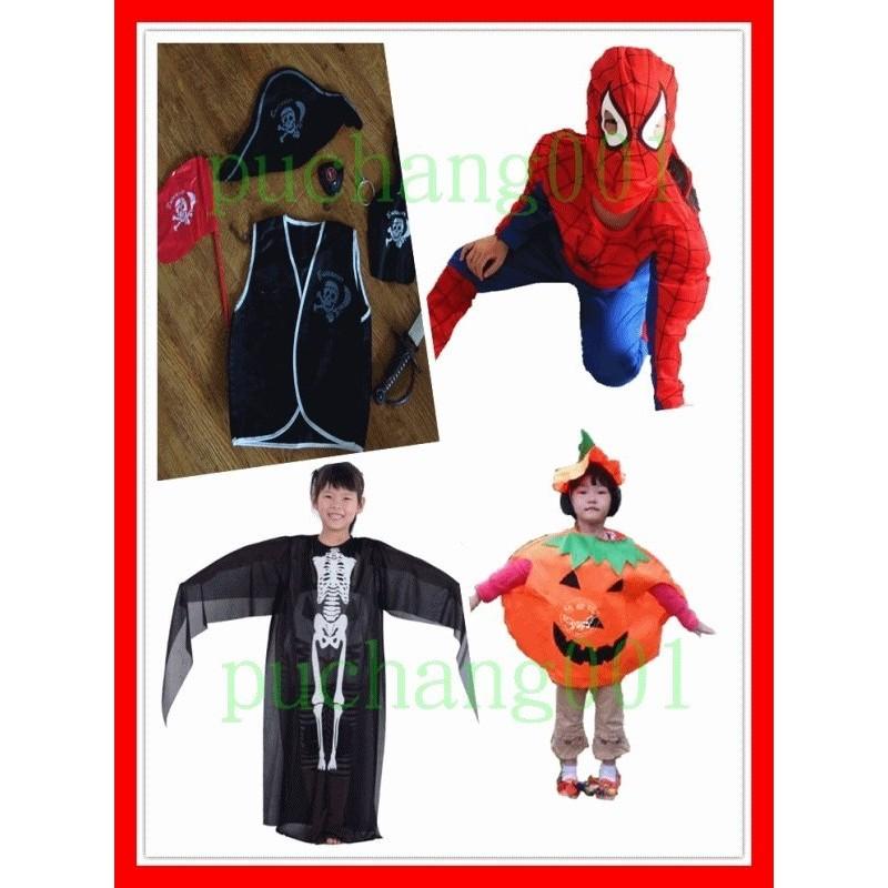 蜘蛛人驚聲尖叫海盜裝南瓜服萬聖節活動聖誕節國慶日耶誕變裝PARTY 兒童表演服C