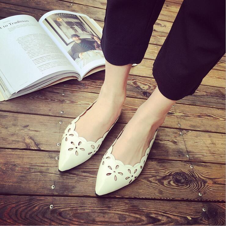 2016 春 尖頭淺口平跟小白鞋洞洞鞋透氣平底鏤空單鞋女鞋