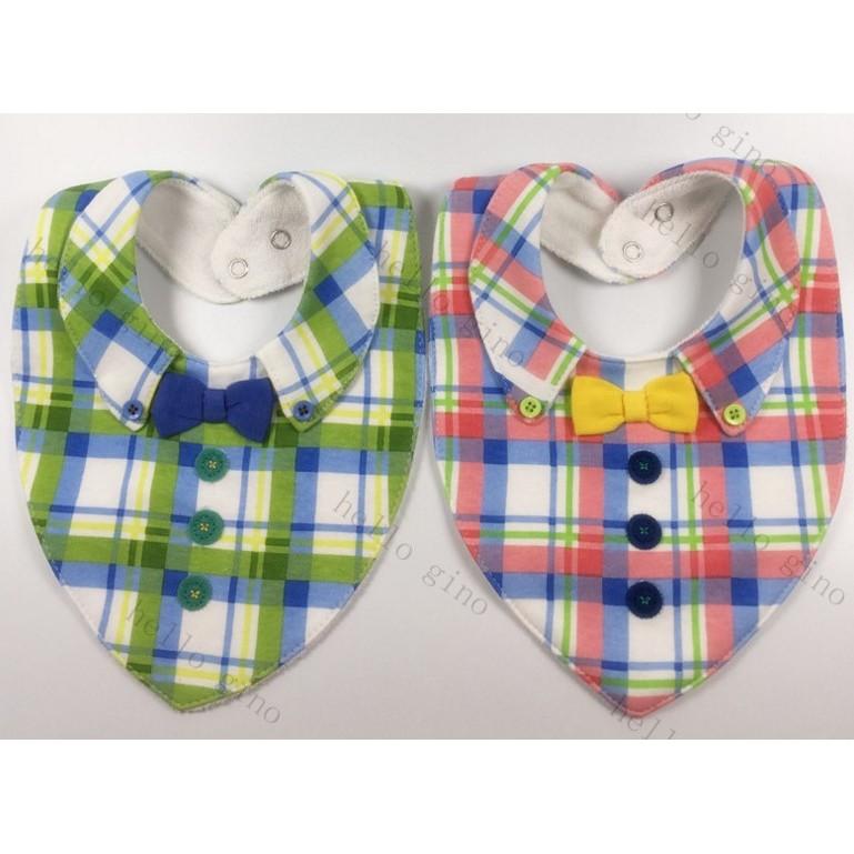 紳士領結 潮牌純棉格子口水巾毛巾布嬰兒圍嘴