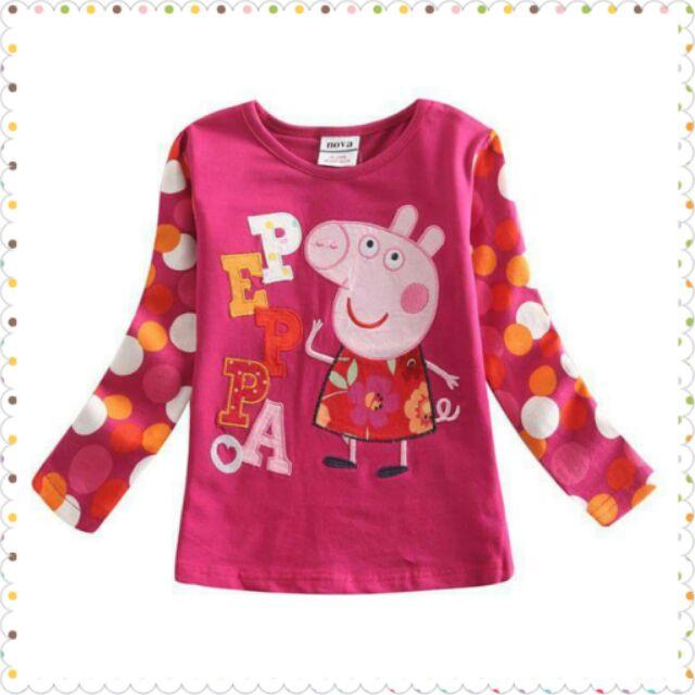 ~Peppa Pig 佩佩豬繡花貼布圖案併圓點長袖假兩件Tee 恤衫