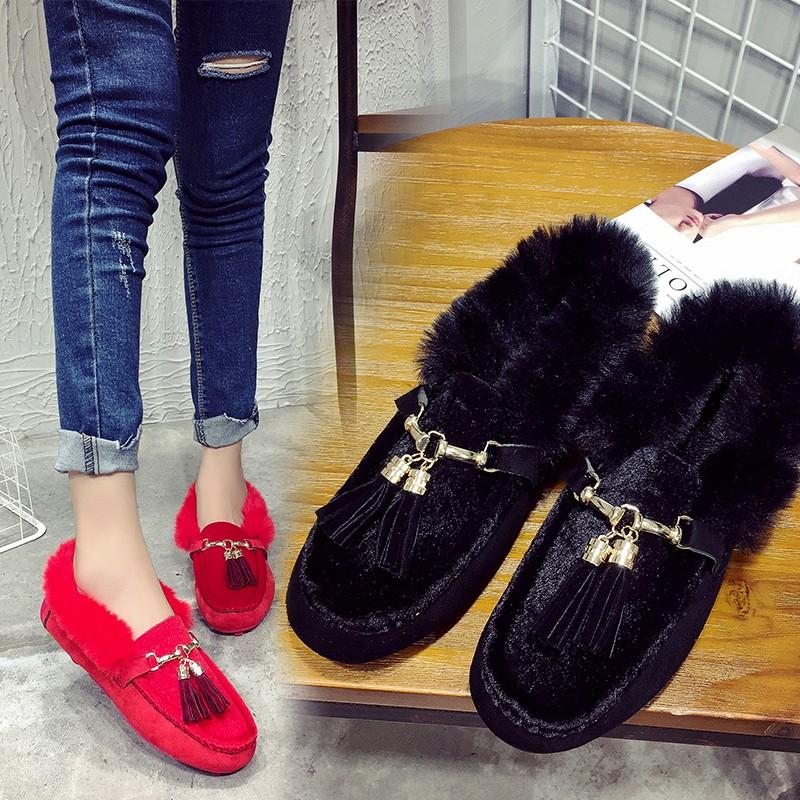 ☞☞☞ギケグn 秋 女單鞋平底女鞋加絨 鞋套腳流蘇單鞋 女士毛毛鞋