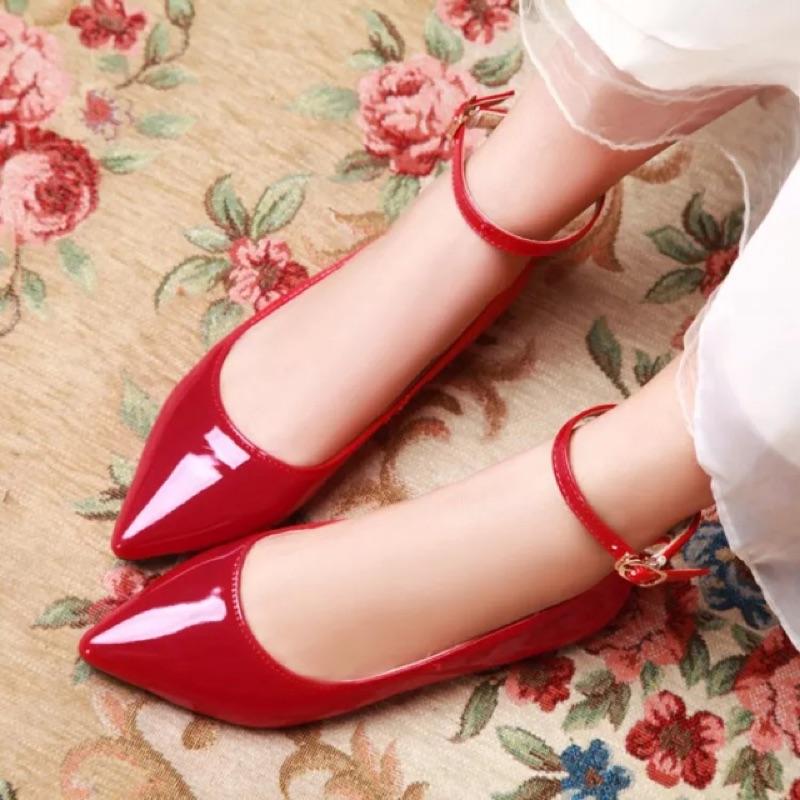 韓~糖果色女鞋红色漆皮平底鞋( 40 號 偏小)