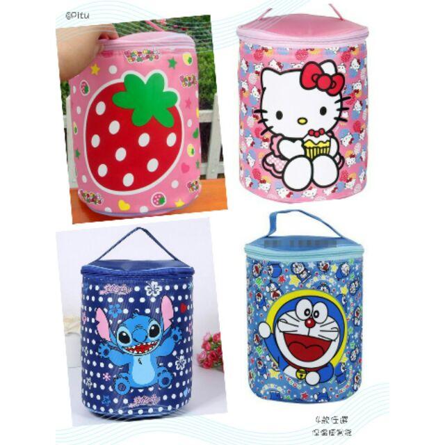 可愛卡通圓形手提防水保溫便當袋便攜保溫包飯盒袋4 款