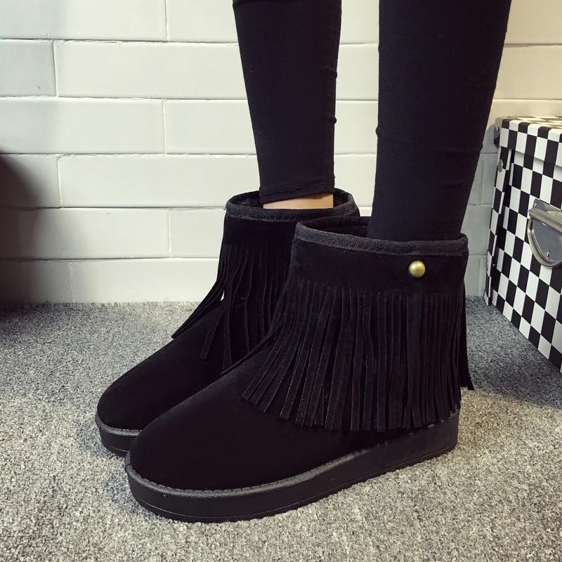 女靴子平底防滑流蘇雪地靴女加厚絨短靴學生平跟短筒磨砂棉鞋