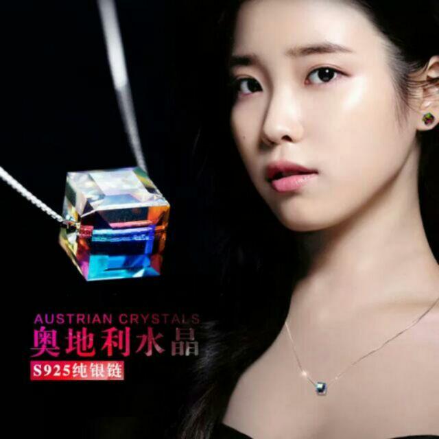 韓國925 銀方型炫彩水晶鎖骨鍊