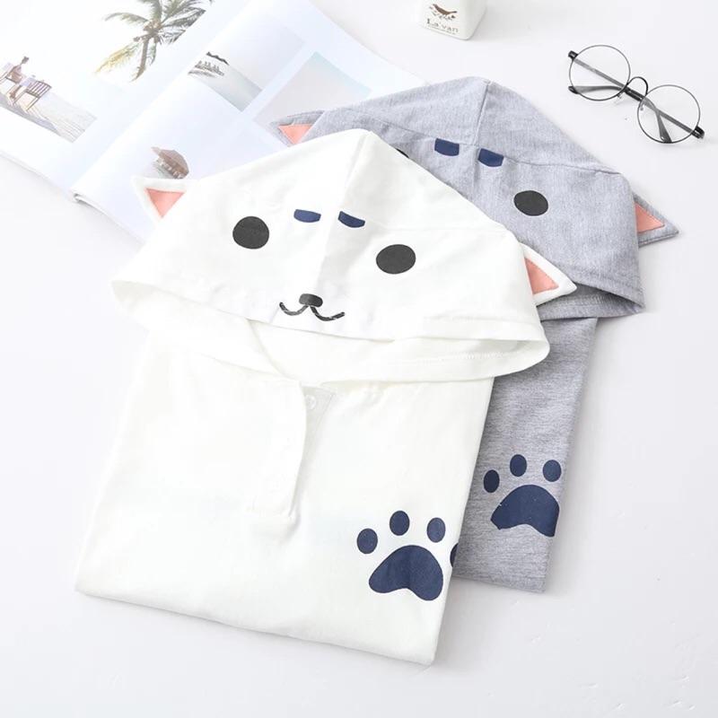貓尾巴的幸福~日系偽貓娘可愛貓咪耳朵連帽棉質短袖T 恤上衣( )