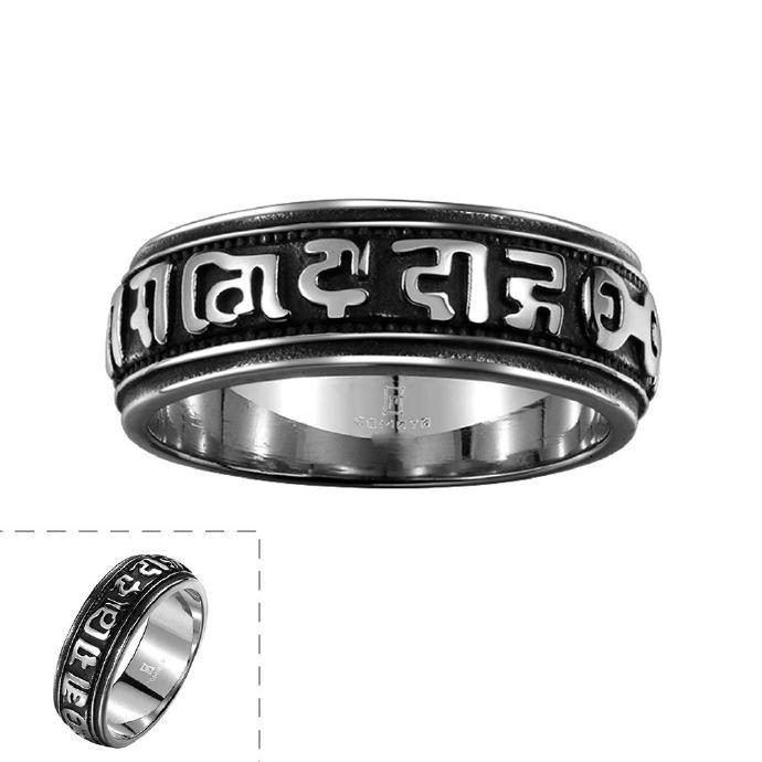 古瑪雅簡約風神秘文字復古鈦鋼戒指