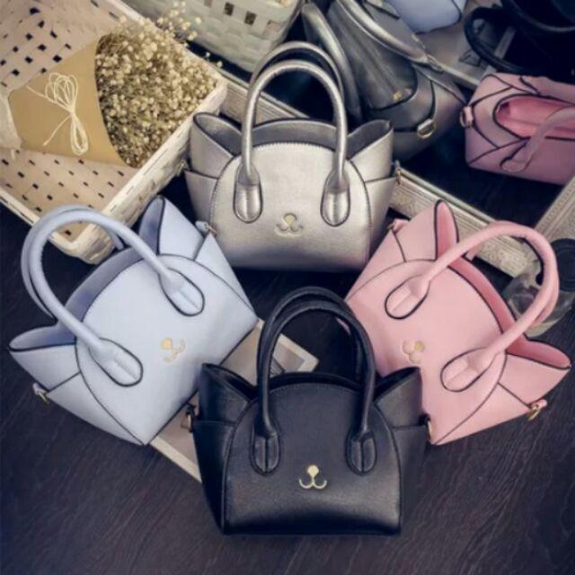 ♡ ♡ 超可愛萌系貓咪臉型俏皮貓臉包仿皮革 女用女生包包2 種背法糖果色小包包單肩包斜背包
