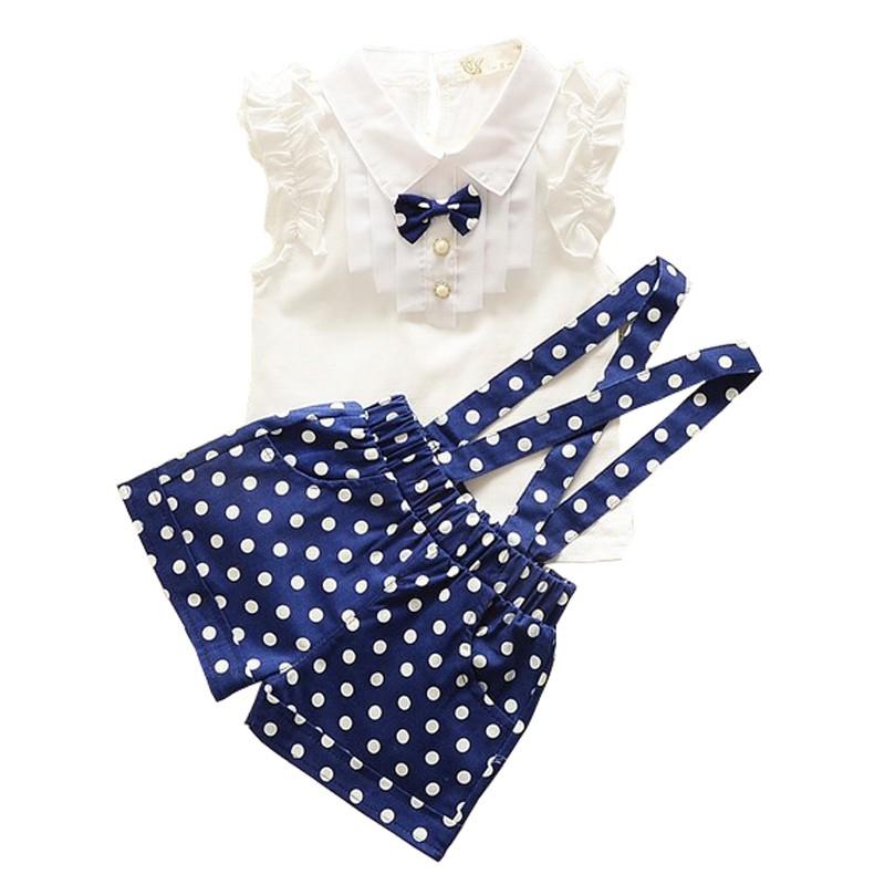 女童套裝白色襯衫背帶褲藍色2 6 歲兒童夏天