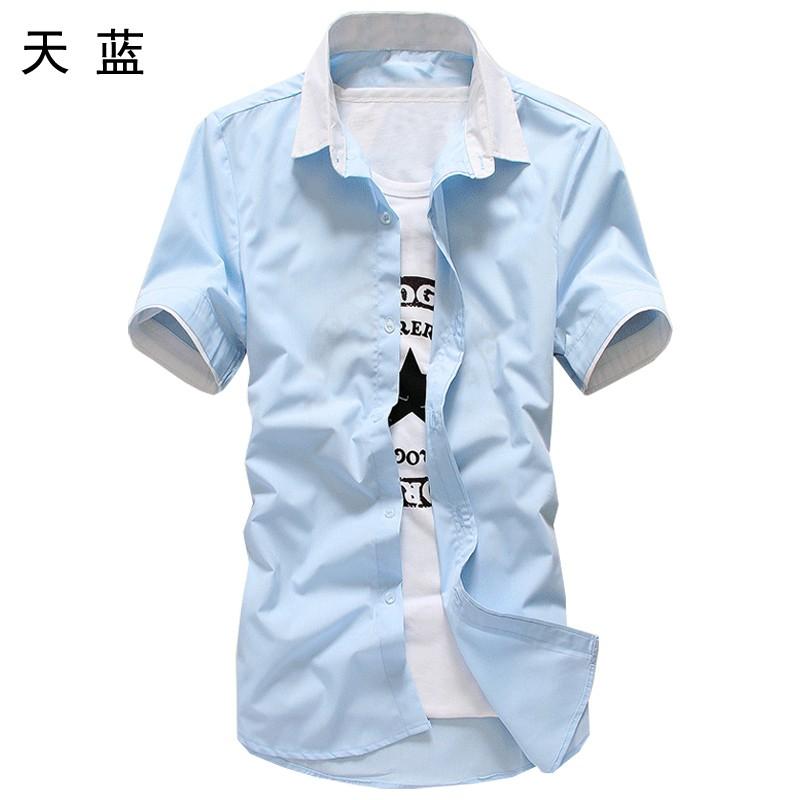 男士中袖襯衫男學生 修身半袖襯衣夏天青少年短袖薄外套潮