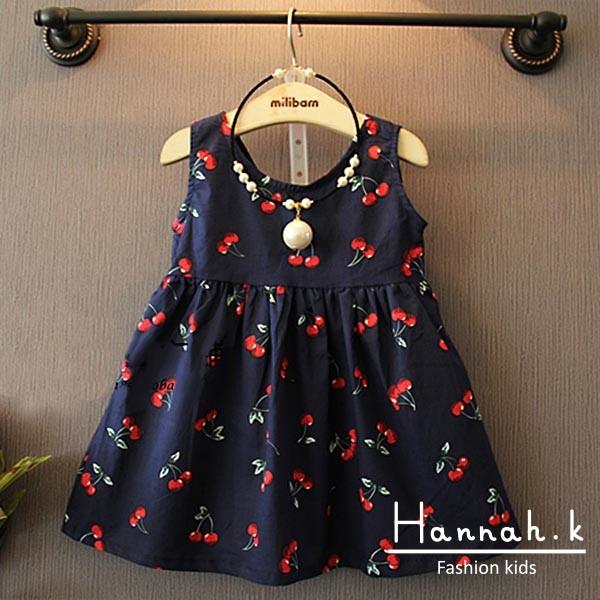 夏裝 女童兒童洋氣櫻桃印花連衣裙吊帶裙小洋裝小花裙禮服兒童裙