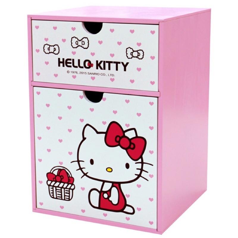 上市KT 0663 木製Hello Kitty 直式兩抽置物盒收納盒