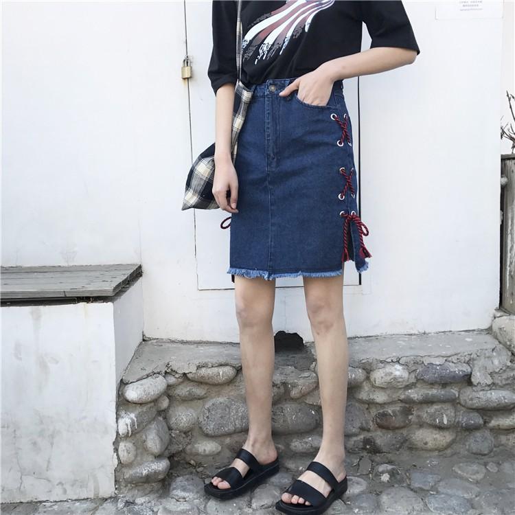 新品超贊百搭 綁帶開叉毛邊包臀牛仔裙修身顯瘦裙子潮流 中裙
