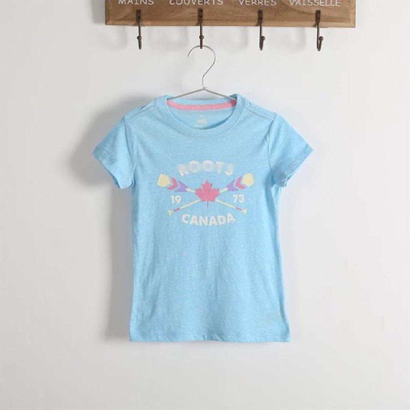 ‼️ ✨ 5 14 歲女 正品Roots 可愛小清新字母淺藍色短袖T 恤天然純棉S XL