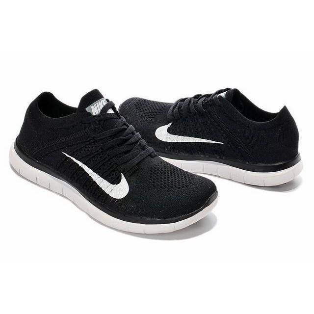 正品NIKE Free Flyknit 4 0 赤足飛線編織輕量休閒慢跑鞋情侶鞋黑白
