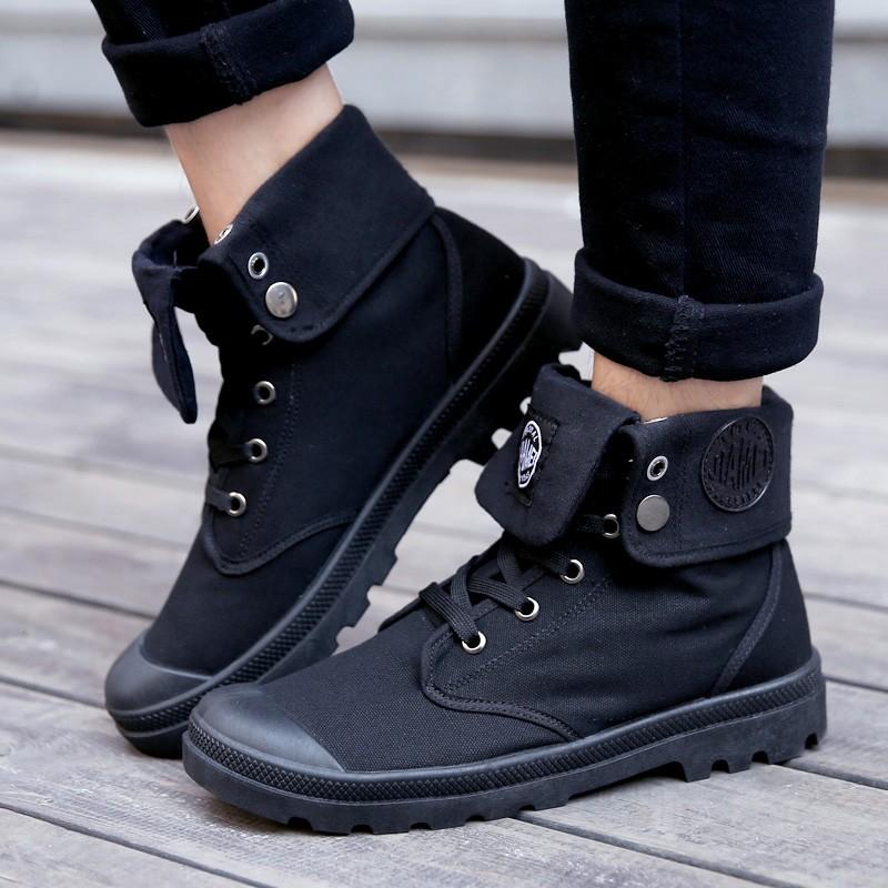 ~虧本圈粉~ 男款英倫高幫可折疊 鞋馬丁靴休閒帆布中筒工裝靴黑色(帆布)