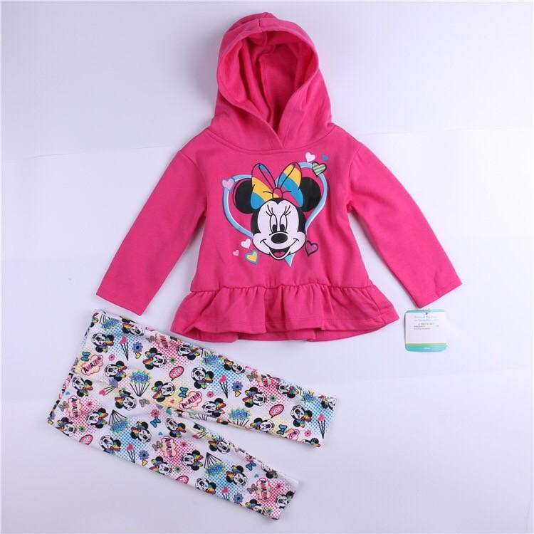⛱ ⛱女童女寶迪士尼米妮純棉細抓絨刷毛連帽長袖上衣內搭褲 套裝褲子帽T