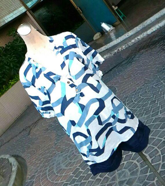 中大碼彩條假二件襯衫,棉紗涼爽,寬鬆舒適~1964