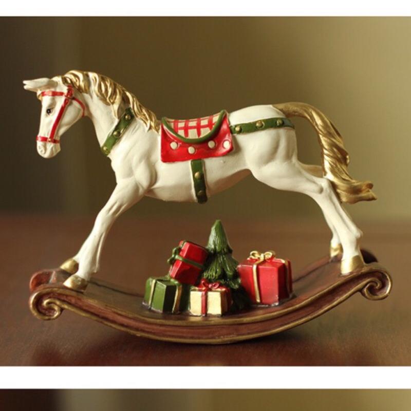 美式鄉村田園家居小裝飾品生日工藝品樹脂木馬擺件新房擺設 品