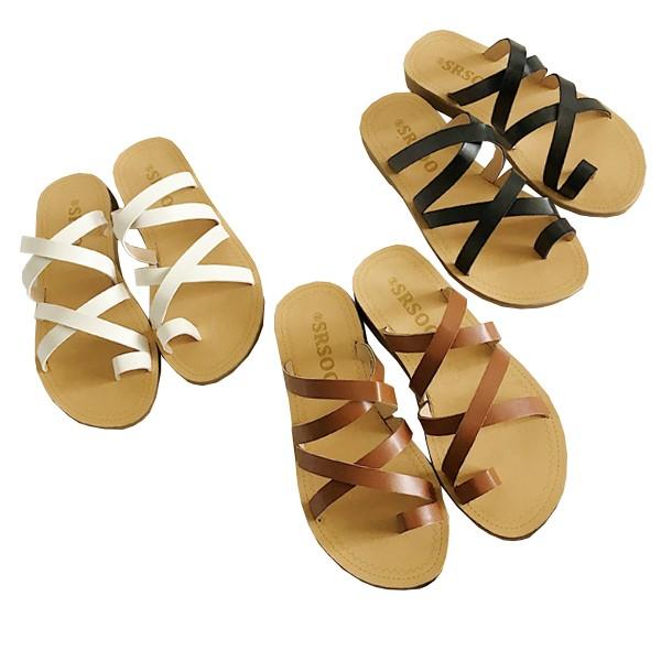 拖鞋~ ~鞋鞋俱樂部~~054 Y898 3 ~交叉PU 皮革套拇趾平底低跟拖鞋.3 色黑