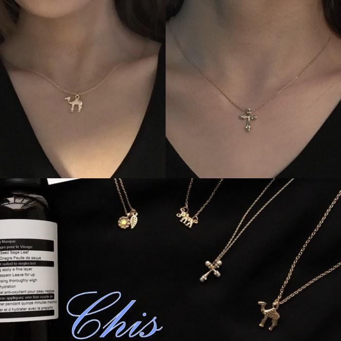 Chis Store ~四款小巧鎖骨鍊~韓國駱駝小象珍珠十字架小鑽石樹葉水鑽葉子泰國大象