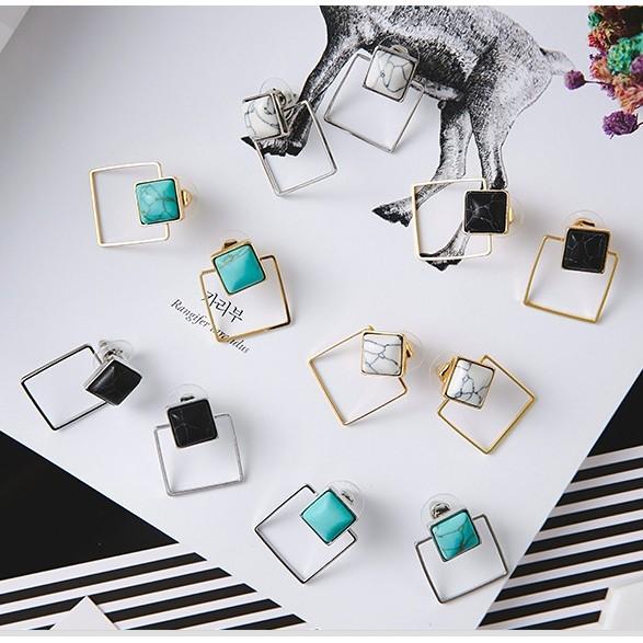個小清新性簡約幾何鏤空方形大理石紋理耳環
