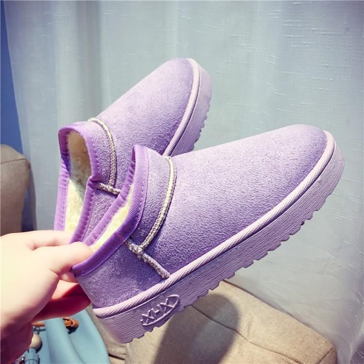 潮流美搭7 保暖加厚防滑面包鞋子粉色懶人套腳女棉鞋短筒平底學生雪地靴