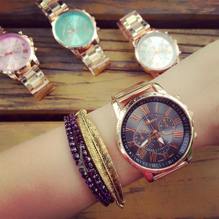 ✨復古金框鋼帶錶