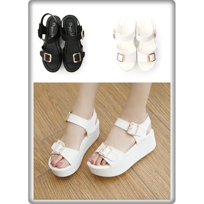製 厚底鞋一字寬帶釦環厚底涼鞋