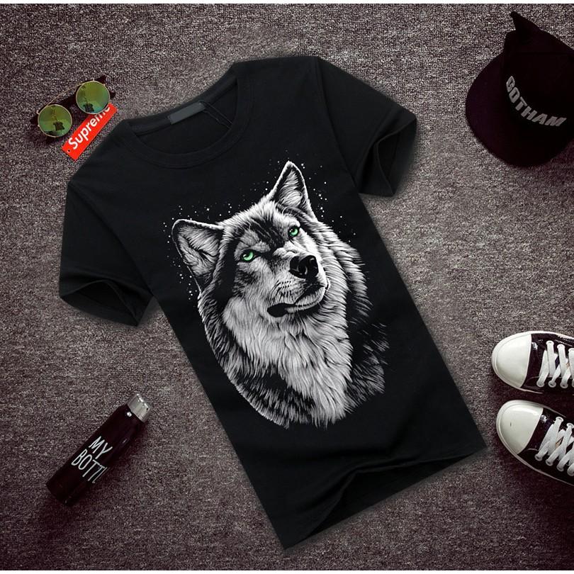 衣服半袖男 潮流體血衫男土t 恤學生大碼短袖立體 3D 狼頭批