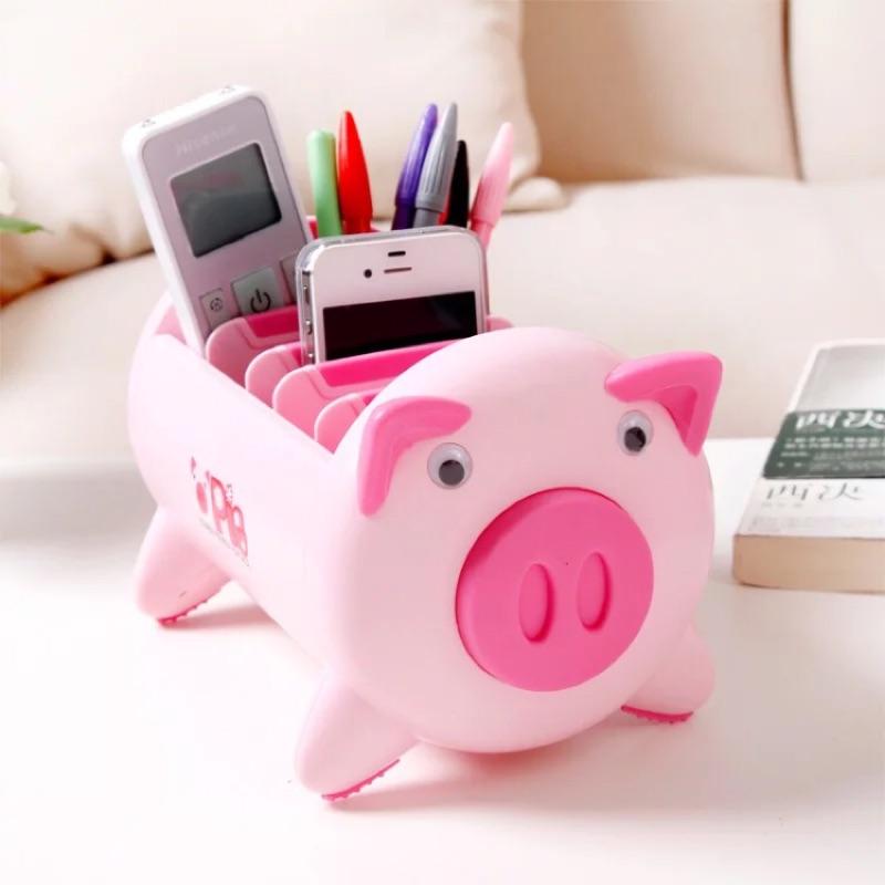 韓國小豬塑膠收納盒手機遙控器整理盒