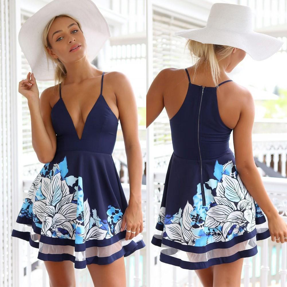 女裝 吊帶連衣裙A 字裙印花 性感V 領網紗裙擺迷妳沙灘裙迷你連衣裙 V 領印花裙