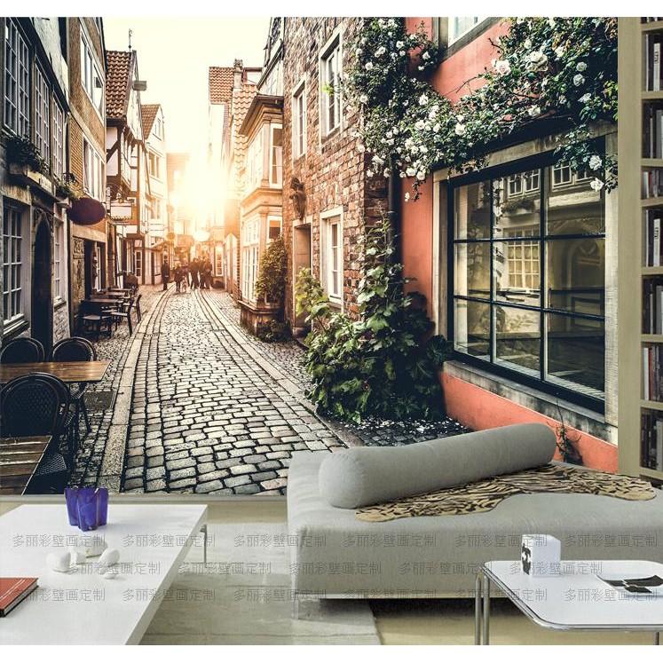 拇指 n 歐洲小鎮街景電視背景墻壁紙客廳咖啡廳無紡布墻紙3D 立體大型壁畫