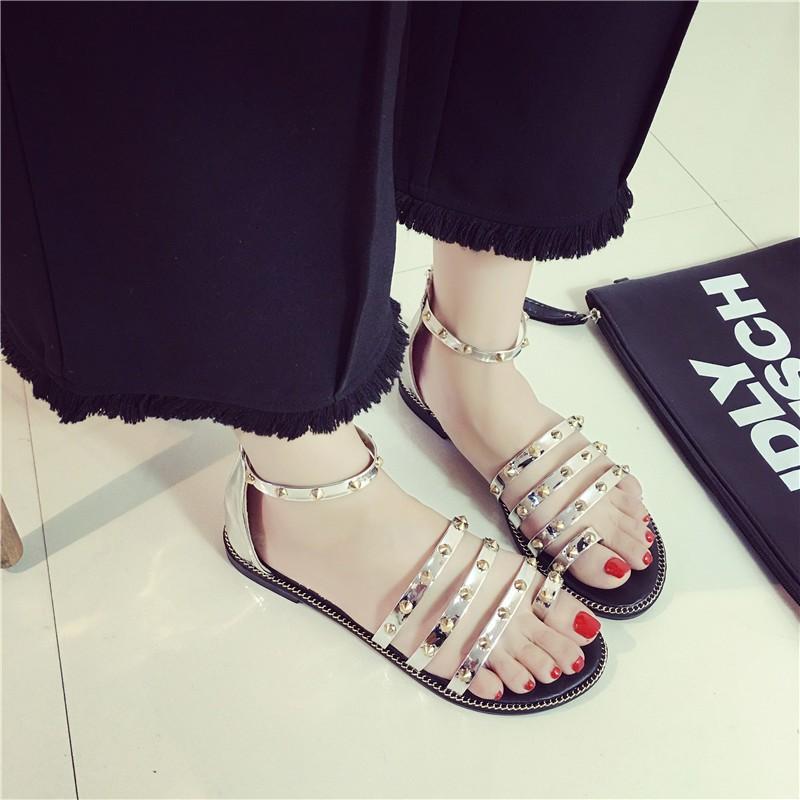 女涼鞋街頭款朋克風性感鉚釘鏤空平底套趾羅馬鞋子黑色涼鞋涼鞋涼鞋涼鞋涼鞋涼鞋涼鞋涼鞋涼鞋涼鞋
