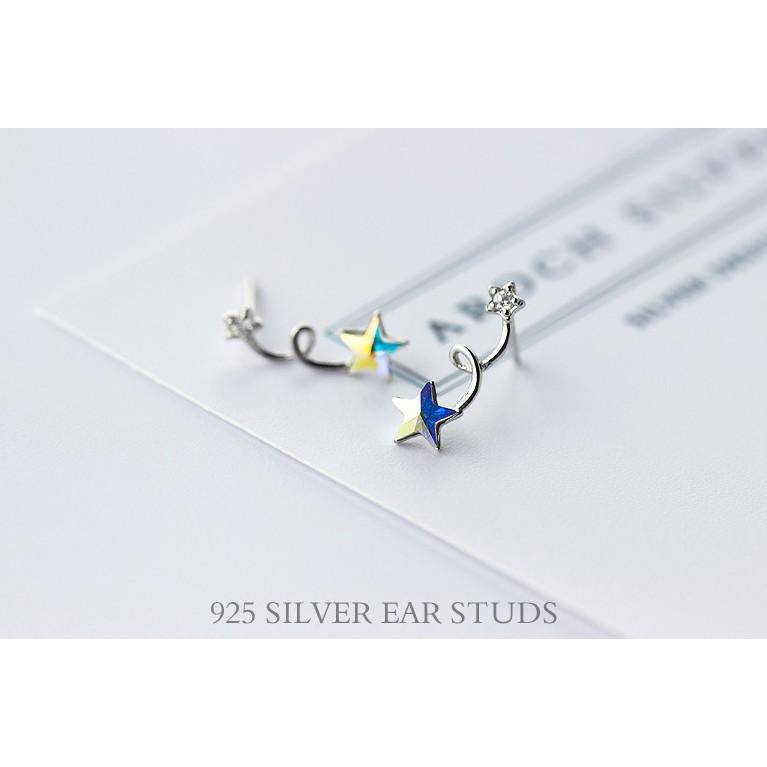 皇后銀飾晶亮彩鑽五芒星耳環 鑲鑽五角星耳針不過敏925 純銀E120