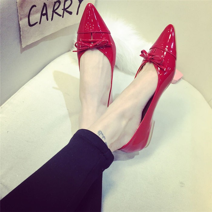 2016  女尖頭平底女鞋淺口單鞋平跟紅色婚鞋甜美蝴蝶結單鞋