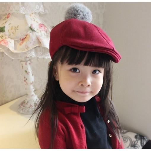 ~灰熊Q ~兒童帽子秋 韓國 純色羊毛呢帽寶寶護耳毛球貝雷帽小偷帽 帽寶寶帽子兒童潮帽保暖