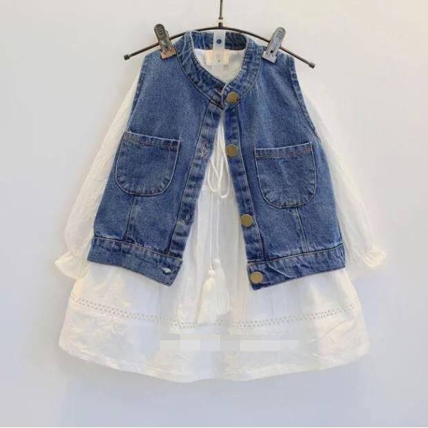 兒童套裝秋裝 女童鏤空長袖系繩連衣裙子牛仔馬甲兩件套