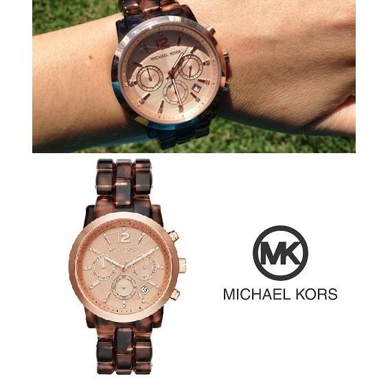 可蝦幣 ⬇️降價 ⬇️ 正品Michael Kors MK6199 玫瑰金框玳瑁鍊錶Coa