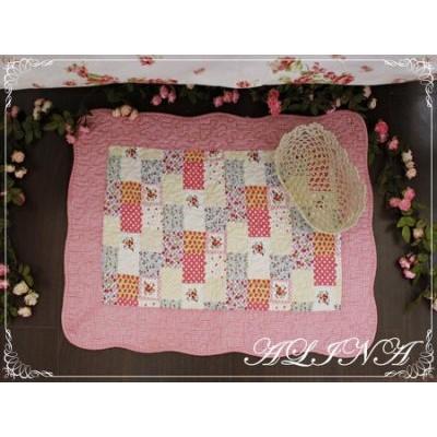 ALINA 韓式鄉村田園風居家紅色格子拼布風鋪棉車縫防滑地墊客廳浴室地墊70 50cm