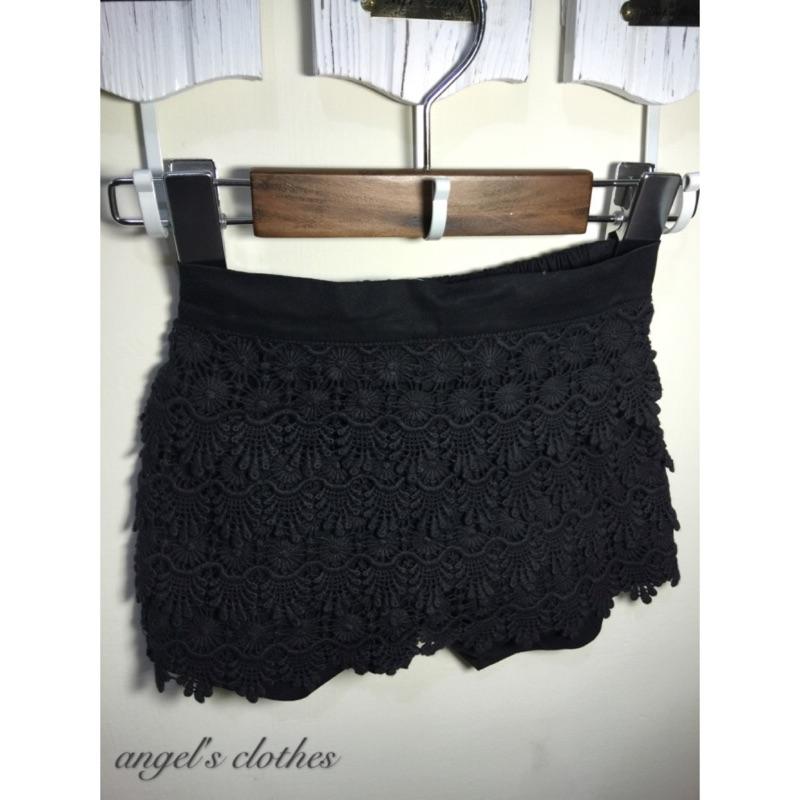 黑色氣質蕾絲鬆緊褲裙
