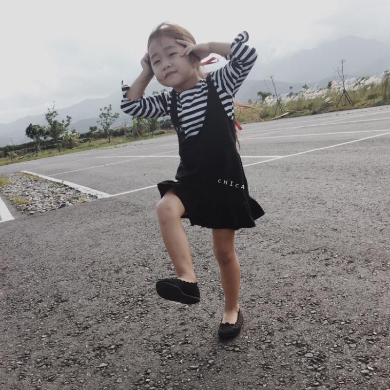 2016  女童條紋長袖T 恤吊帶裙百搭休閒兩件套裝