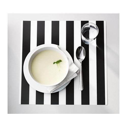 ~瑞典IKEA 宜家家居~LJUDA 黑白條紋餐墊黑白色餐墊塑膠餐墊正方形餐墊方型餐墊桌墊