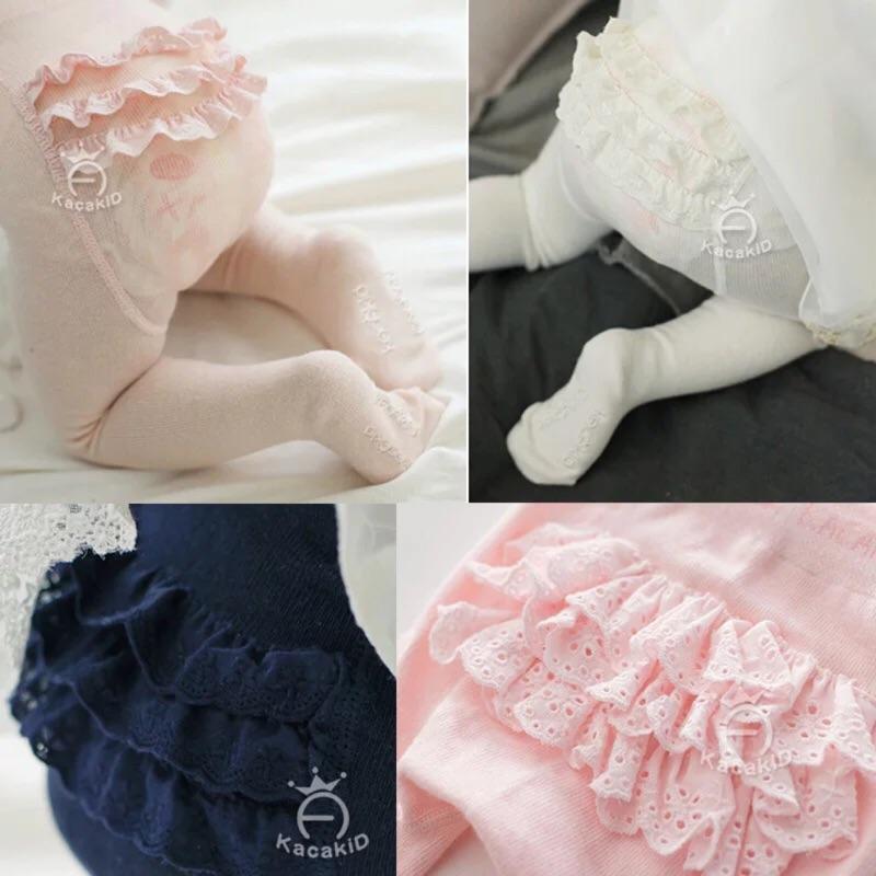 嬰兒甜美蕾絲荷葉邊褲襪PP 襪棉百搭女童花邊打底褲