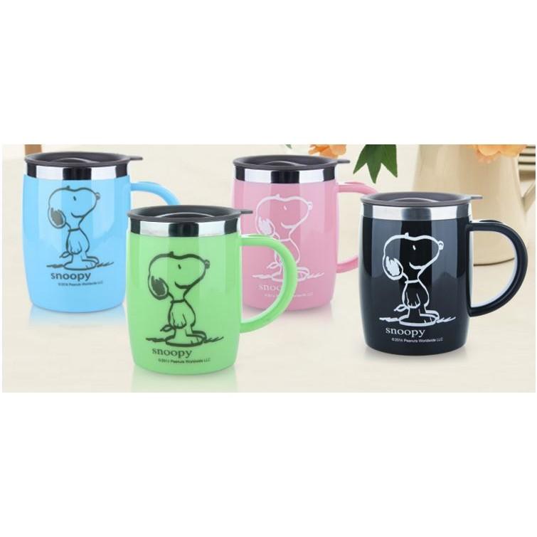 SNOOPY 史努比辦公杯不鏽鋼杯附蓋子420ml 有四種顏色