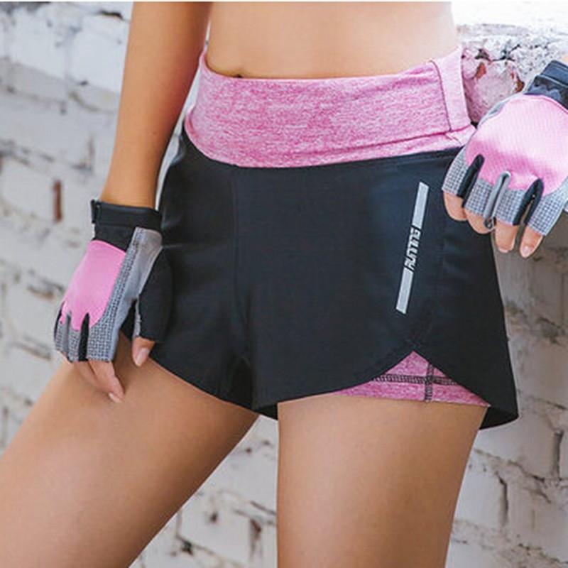 短褲女跑步休閒防走光假兩件瑜伽熱褲內襯高彈力速乾健身短褲