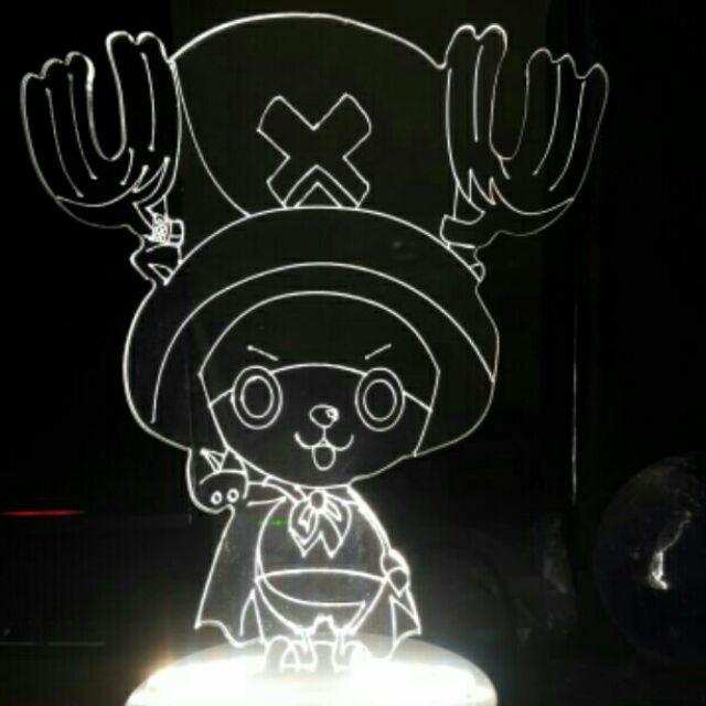 3D 立體線條北歐風LED 小夜燈白漆木質底座海賊王迪士尼美少女戰士史迪奇